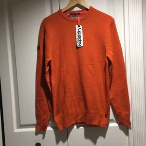 NWT Superdry men's Harrow Crew orange jumper L